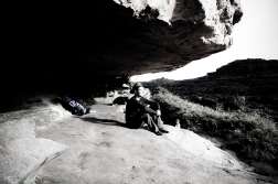 Sleeping on a rock is not the best idea.