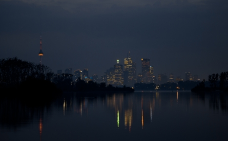 Toronto - night city panorama at Tommy Thompson-Park