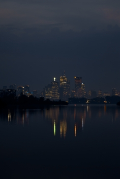 Toronto - night city panorama at Tommy Thompson-Park