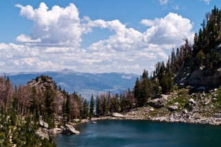 Amphitheater Lake and view over Gros Ventre Wilderness