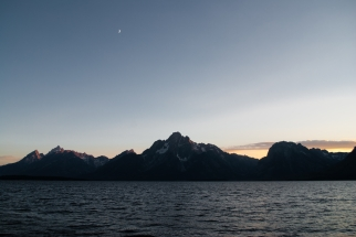 Mt. Moran, Grand Teton and Doane Peak across Jackson Lake