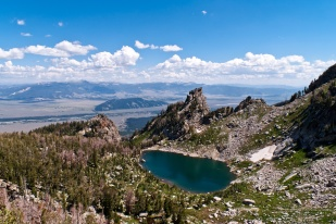 View from The Disapointment Peak over The Amphitheater Lake and Gros Ventre Wilderness