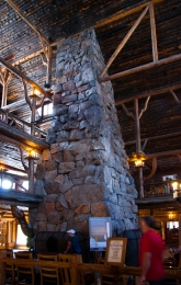 Old Faithful Inn - A massive stone fireplace