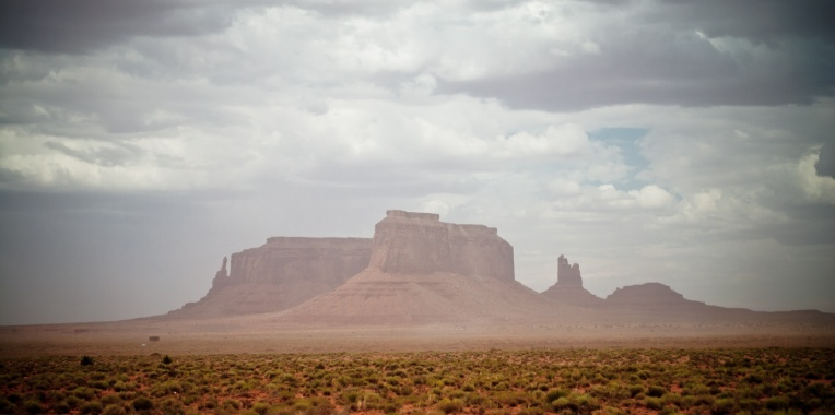 A sand storm in Monument Valley