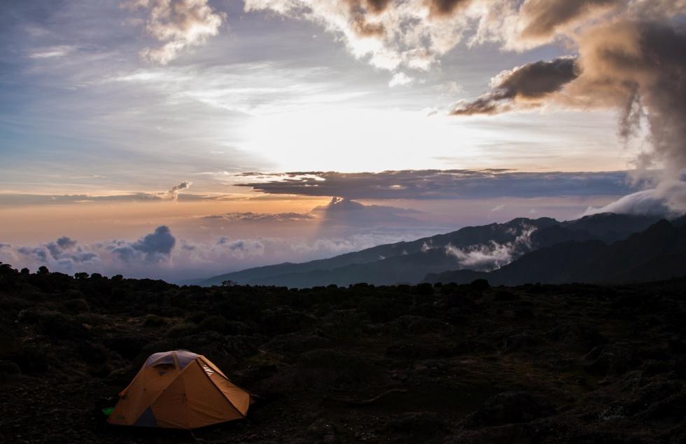 Amazing sunrise with Mt. Meru